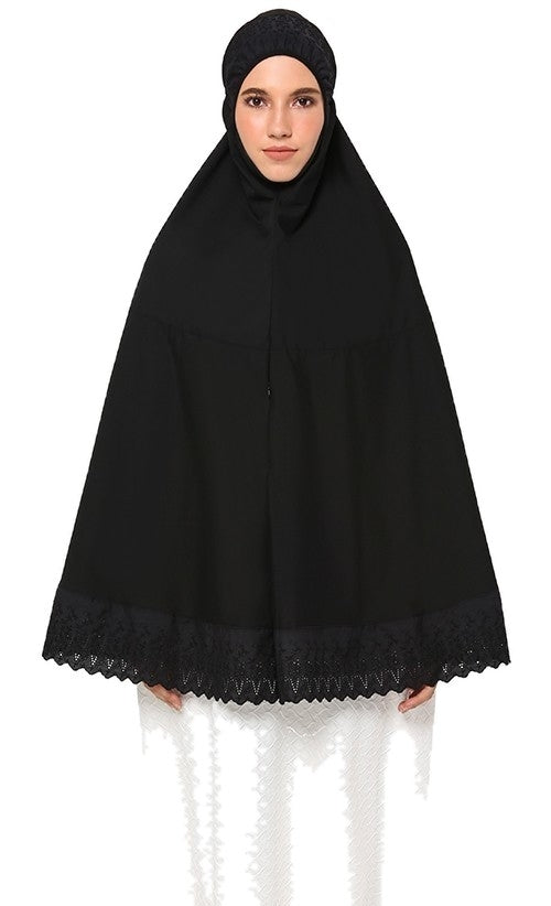 Telekung Mini Soraya - Black ( With Pocket)