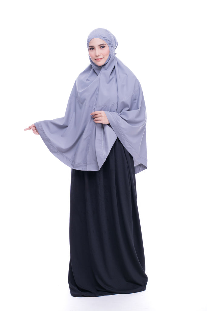 Telekung Mini Hidaya - Grey with Pocket