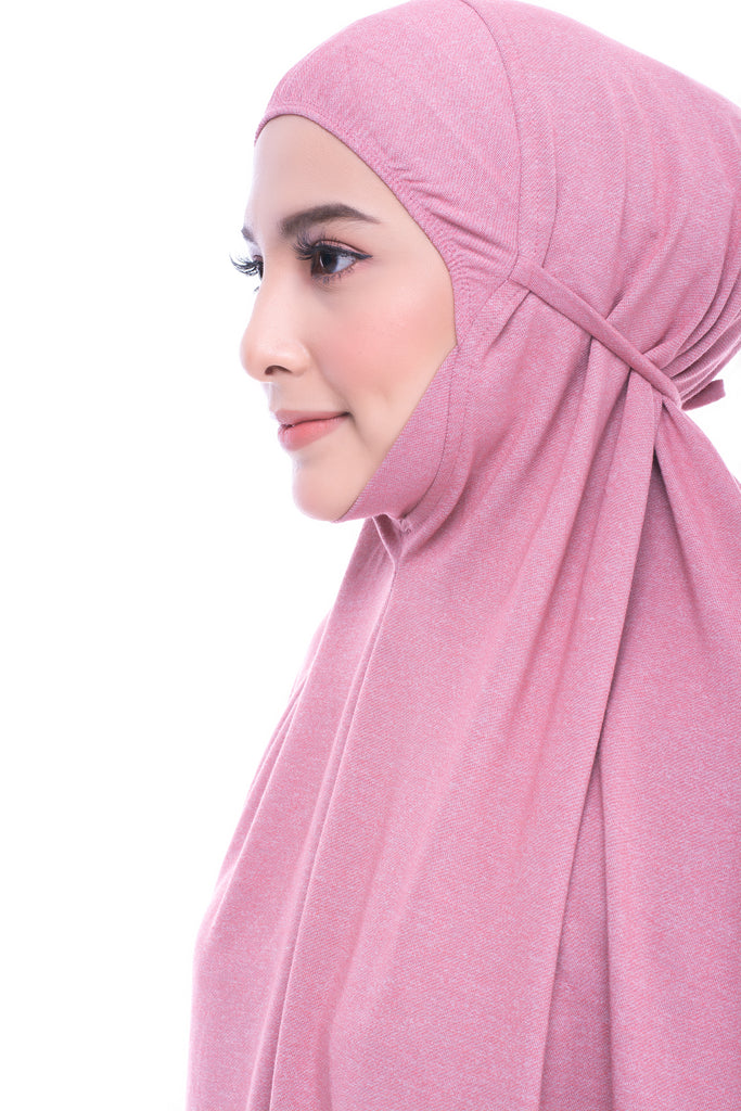 Telekung Mini Denim - Light Pink (with sleeve)
