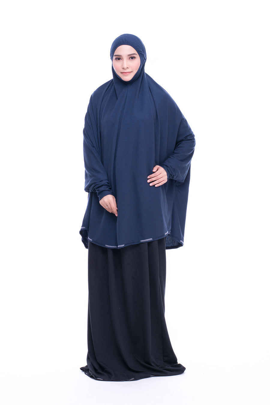 Telekung Mini Denim - Navy Blue (with sleeve)