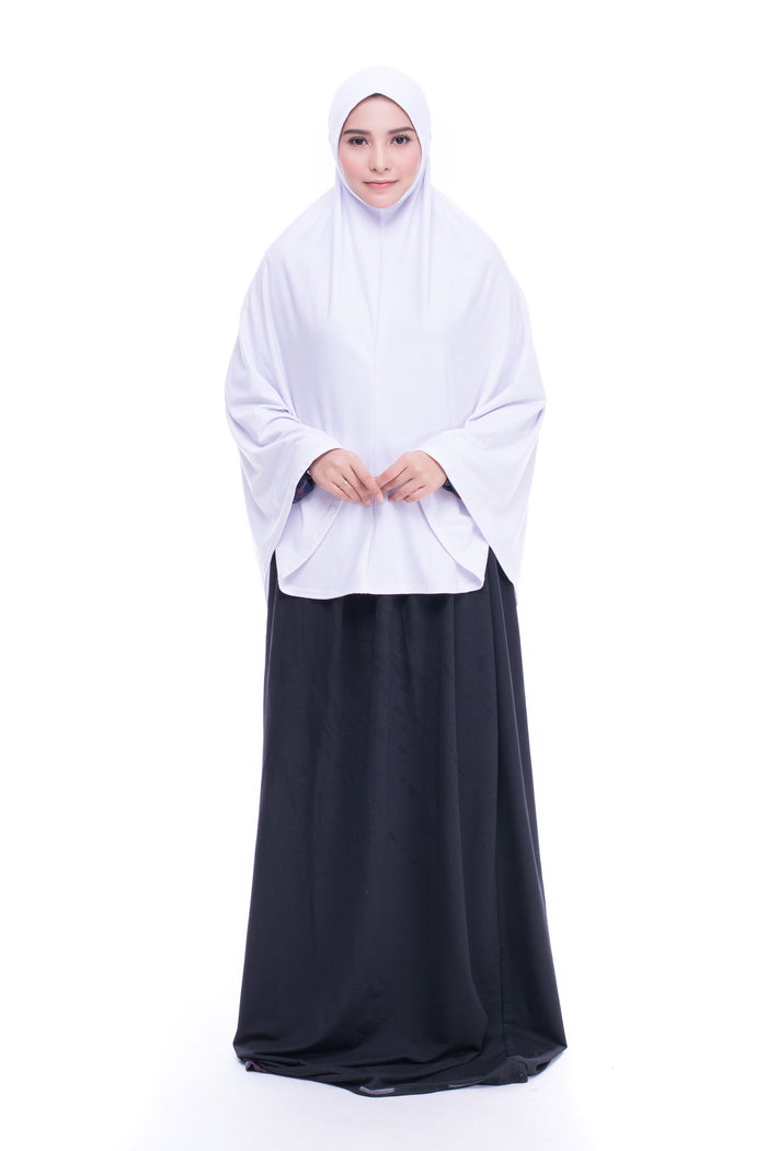 Telekung Mini Cotton Lycra in White