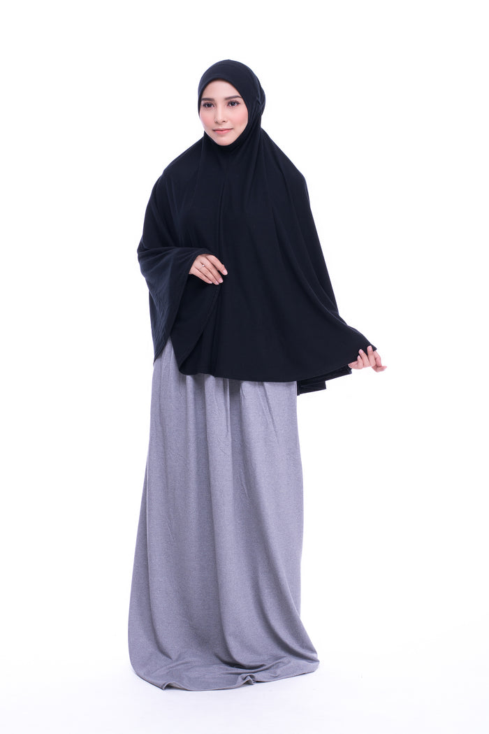 Telekung Mini Cotton Lycra in Black