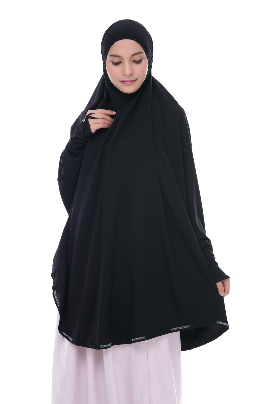 Telekung Mini Denim - Black (with sleeve)