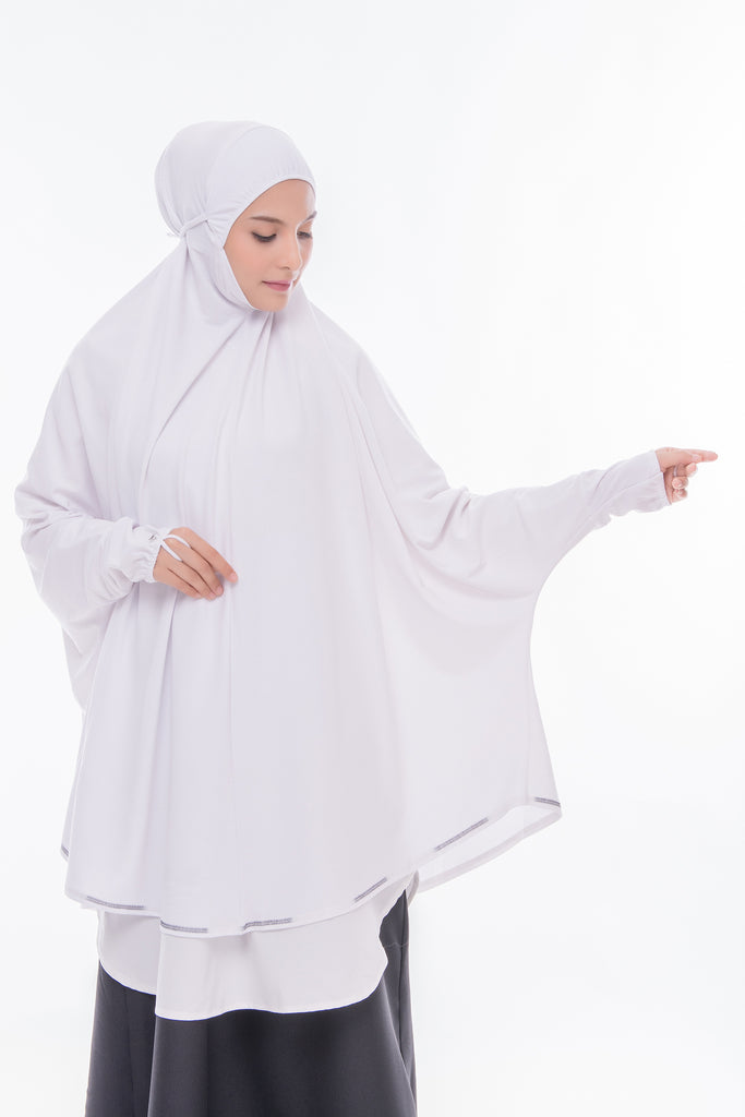 Telekung Mini Denim White with Sleeve