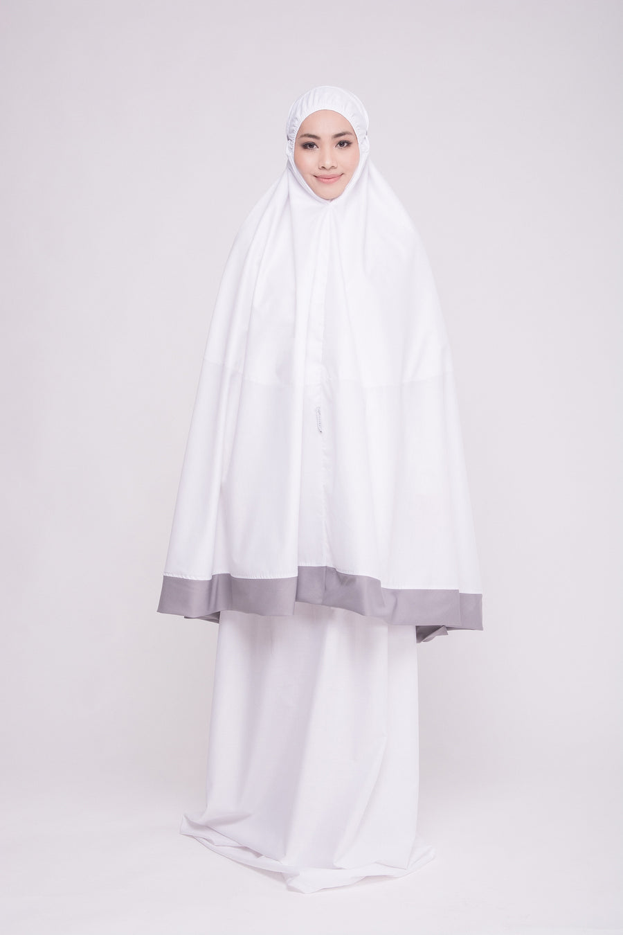 Telekung Cotton - Telekung Faatima (Grey)