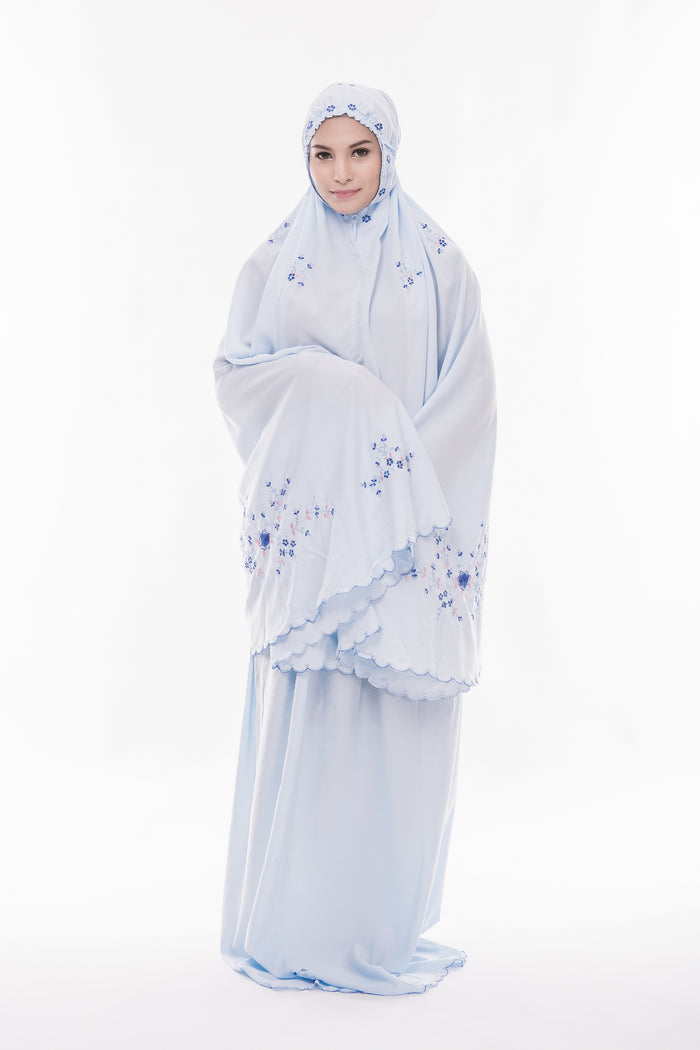 Telekung Cotton - Telekung Farra - Light Blue