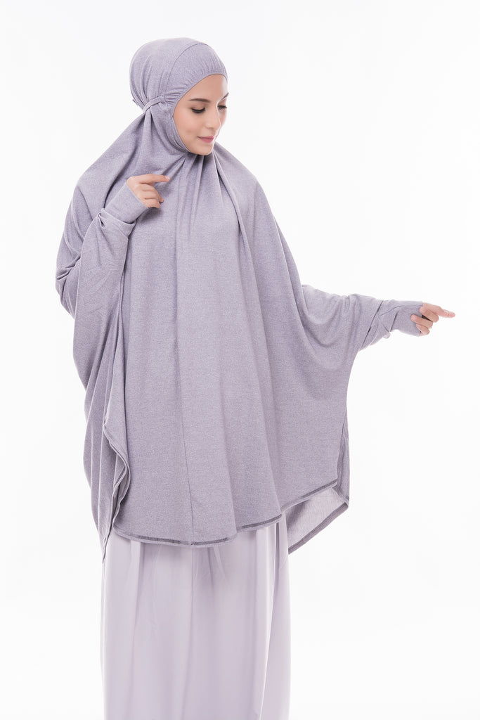 Telekung Mini Denim - Light Grey (with sleeve)