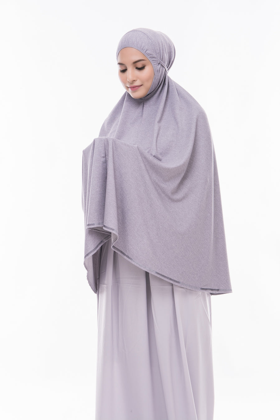 Telekung Mini Denim - Light Grey (without sleeve)