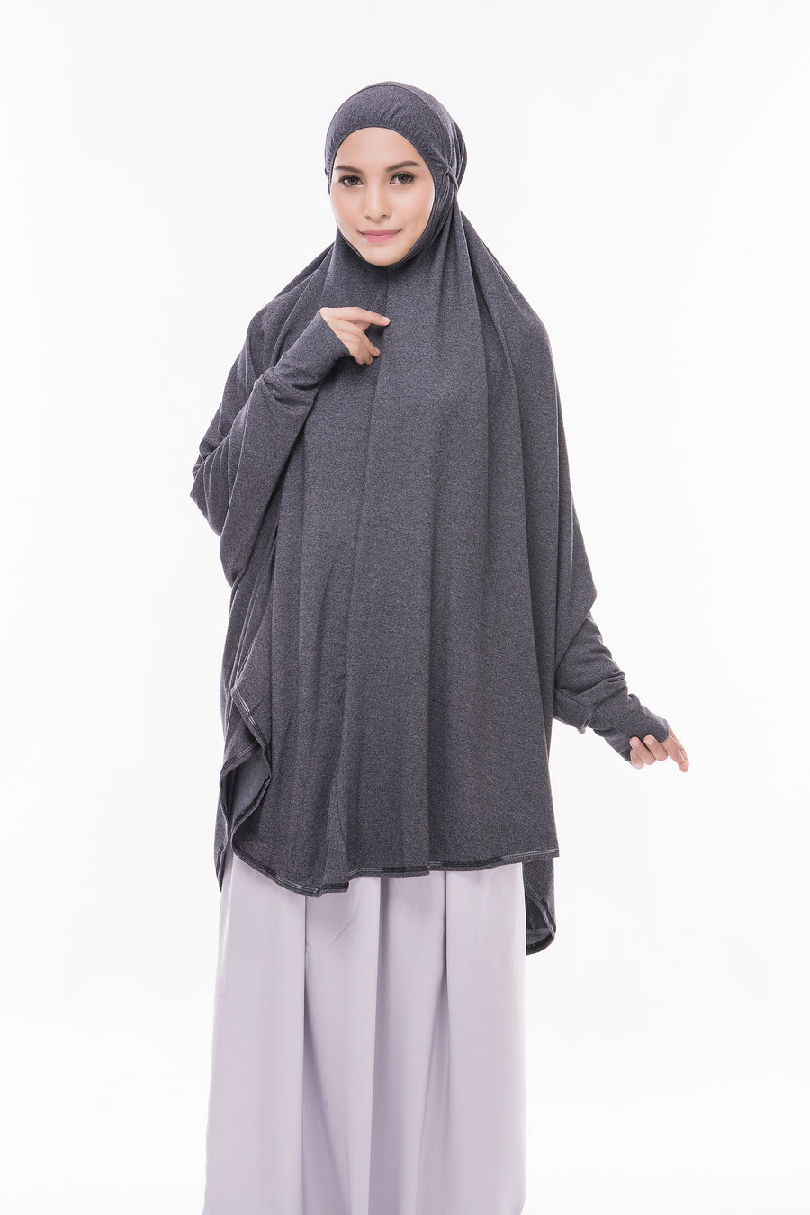Telekung Mini Denim - Dark Grey (with sleeve)