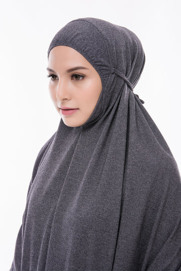Telekung Mini Denim - Dark Grey (without sleeve)