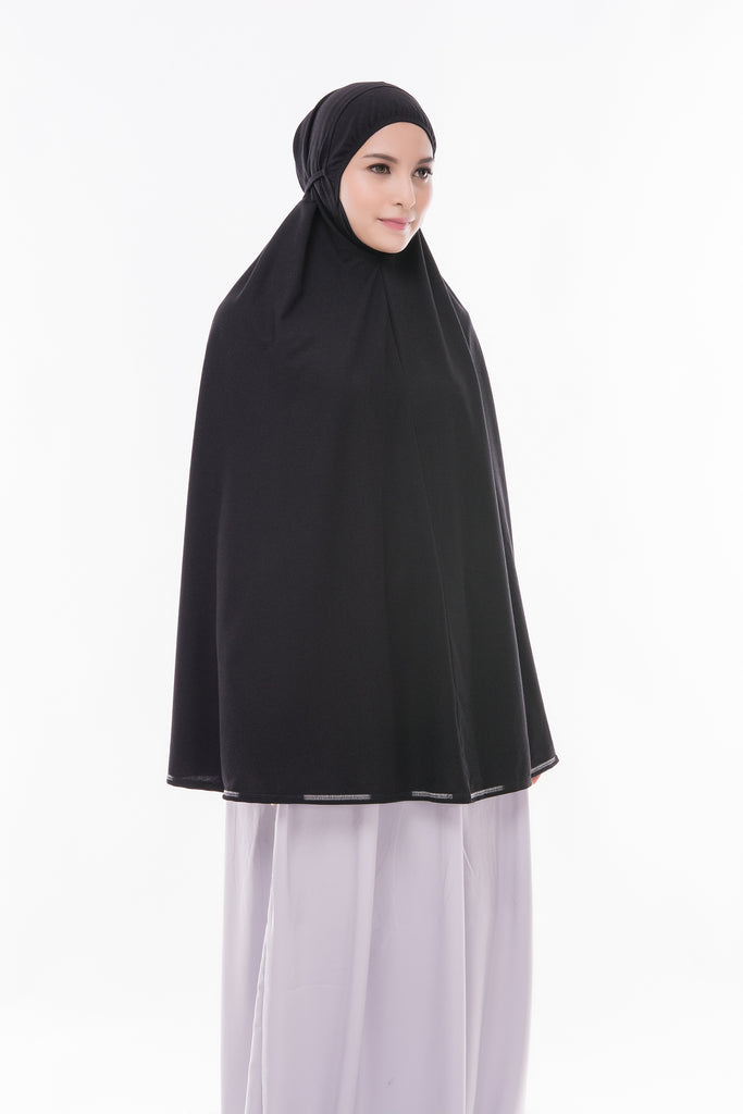 Telekung Mini Denim - Black (without sleeve)