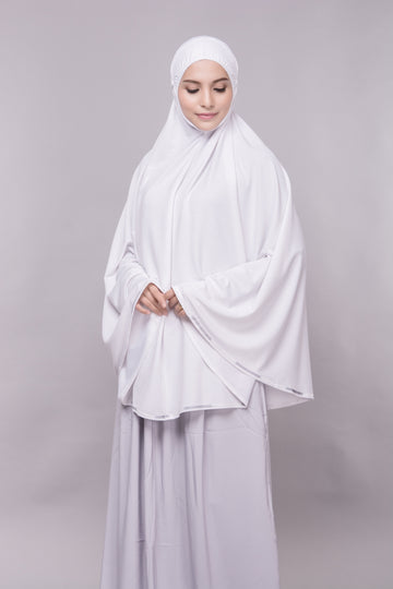 Telekung Mini Denim - White (without sleeve)