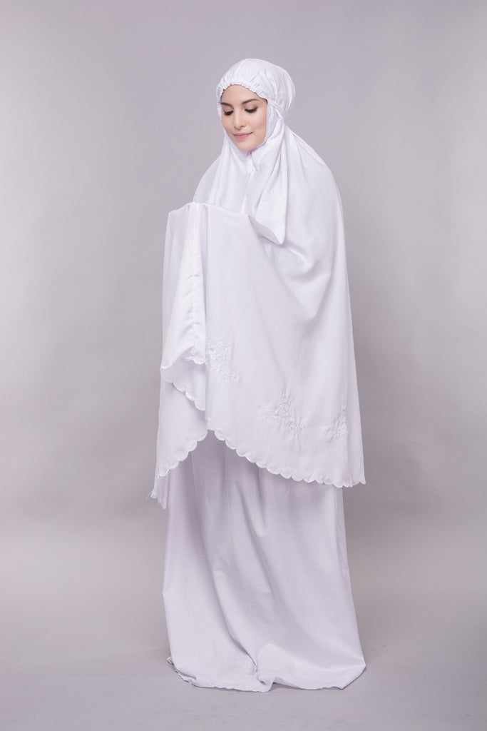 Telekung Cotton - Telekung Farra - All White