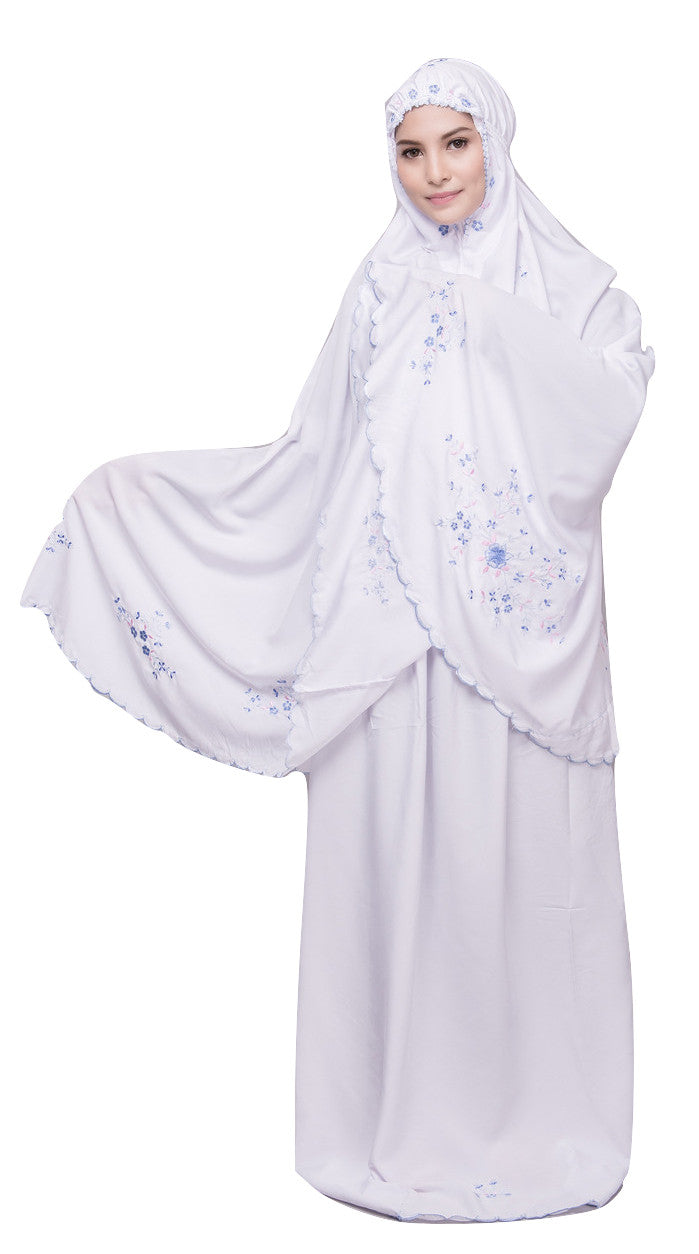 Telekung Cotton - Telekung Farra - White with Blue Flowers