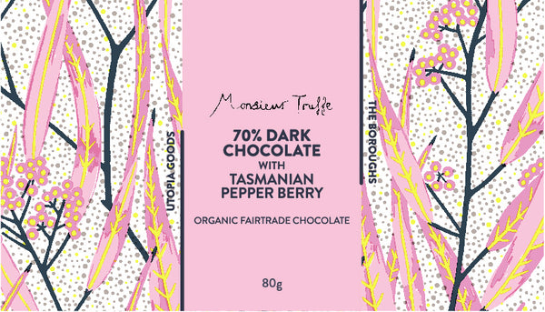 The Boroughs x Monsieur Truffe ~ Tasmanian Pepper berry 72% Dark chocolate