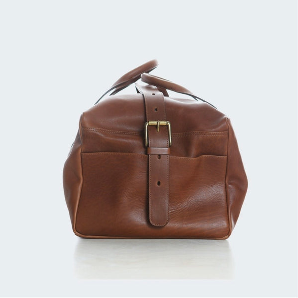 Leather duffle bag  ~ chestnut brown