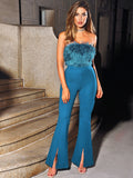 Ursula Teal Blue Fuzzy Flared Strapless Jumpsuit