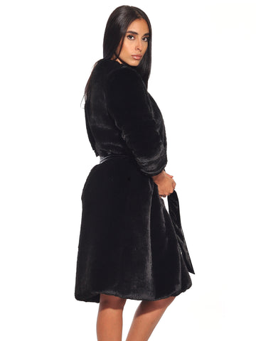 Bailey Black Faux Fur Coat With Waist Tie