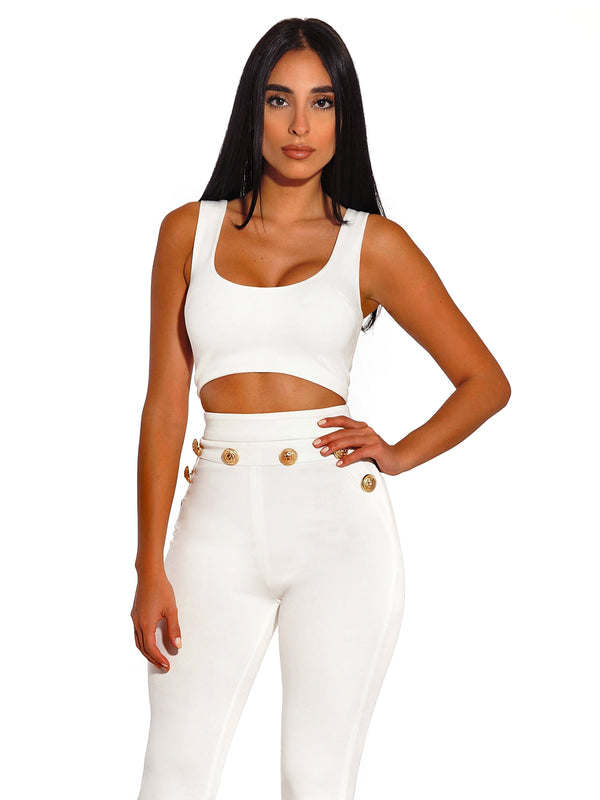 Stella White Back Zip Stretch Crepe Crop Top - Miss Circle