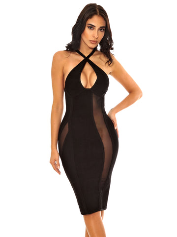 Lisette Criss Cross Halter Top Mesh Detail Bandage Dress
