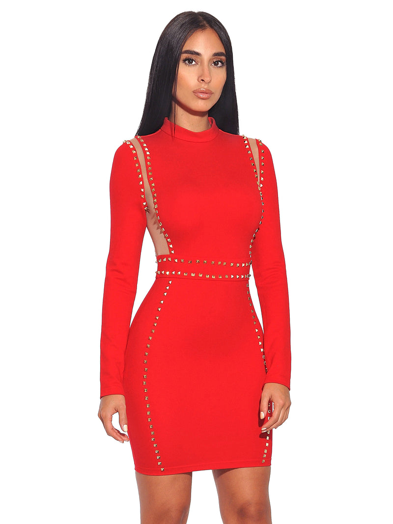 Margot Gold Stud Mesh Detail Long Sleeve Stretch Crepe Dress - Miss Circle