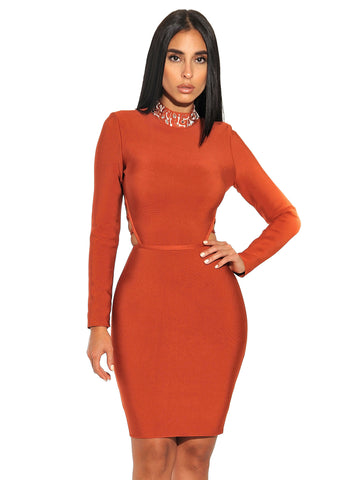 Lucia Lace Up Back Detail Long Sleeve Bandage Dress