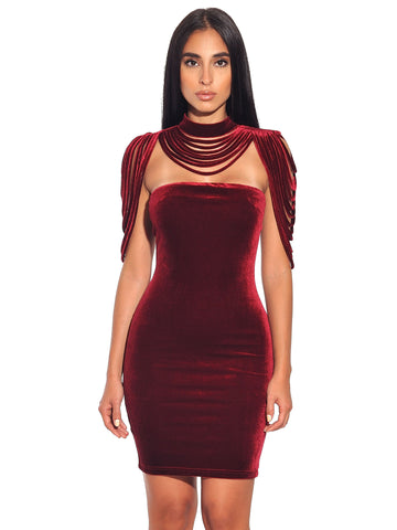 06887f97c292 ... Victoria Removable Collar Stretch Velvet Strapless BodyCon Dress