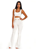 Stella White Back Zip Stretch Crepe Crop Top