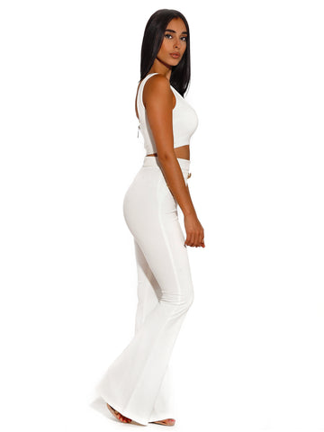 Fiona Gold Button Detail High Waisted White Flared Stretch Crepe Pants