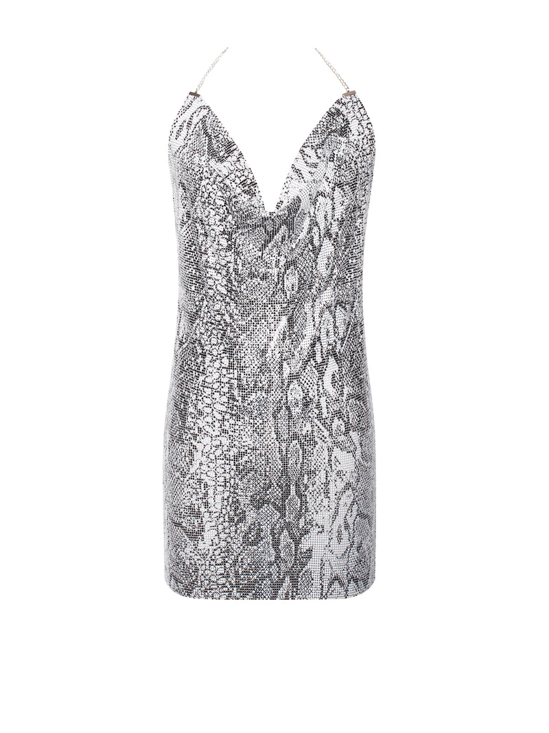 Shalice Aluminum Snake Skin Backless High Slit Mesh Dress - Miss Circle