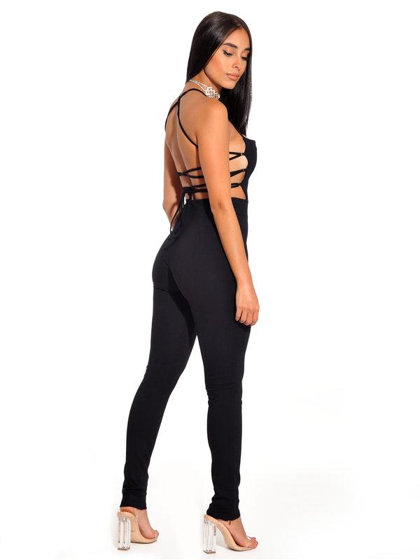 Tamiko Black Criss Cross Tie Backless Stretch Crepe Jumpsuit - Miss Circle