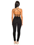 Tamiko Black Criss Cross Tie Backless Stretch Crepe Jumpsuit