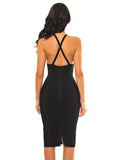 Lisette Criss Cross Halter Top Mesh Detail Bandage Dress - Miss Circle