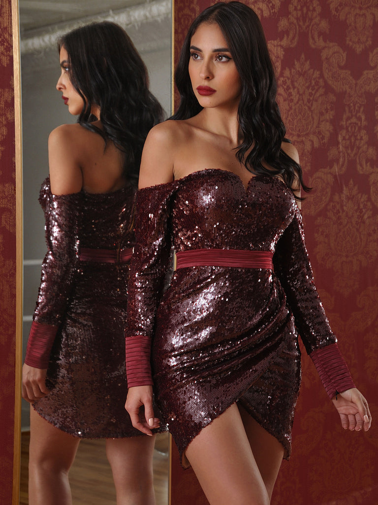 Lyra Satin Detail Stretch Sequin Off Shoulder Long Sleeve Draped Dress (Limited Edition)