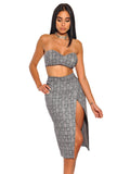 Marcella Plaid High Slit Stretch Suede Strapless Two Piece