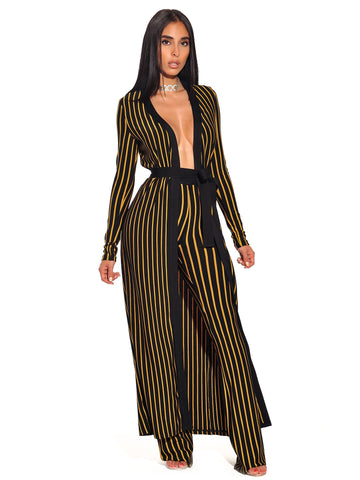 Kora Jacquard Gold Stripe Bandage Cape Sweater With Tie