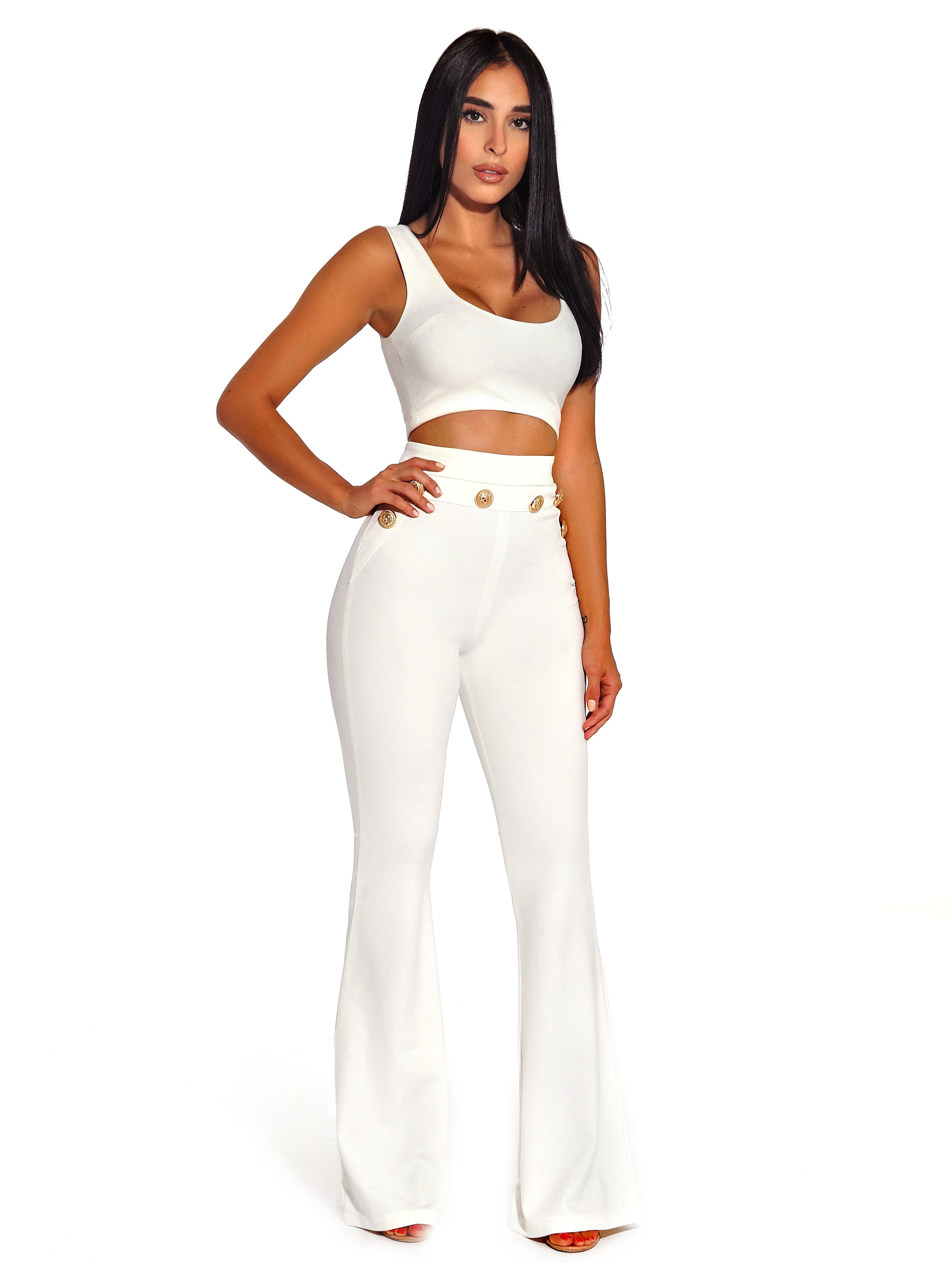 7a139451750660 Fiona Gold Button Detail High Waisted White Flared Stretch Crepe Pants –  Miss Circle