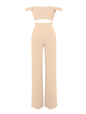 Lalaine Beige Off Shoulder Two Piece Pantsuit