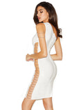 Wendy White Asymmetrical Chain Cutout Bandage Dress