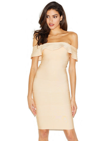 Alexa Pink Bustier Bandage Dress with Asymmetric Lace Up
