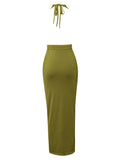 Aspen Olive Green Halter Silk Jersey Dress