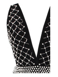 Vylette Pearl Bead Detail Halter Top Bandage Dress