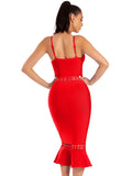 Claudia Red Cut Out Detail Mermaid Bottom Bandage Dress