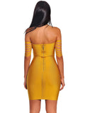 Labelle Yellow Fringe Off Shoulder Bandage Dress