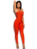 Jubilee Orange Chain Strap Bandage Jumpsuit