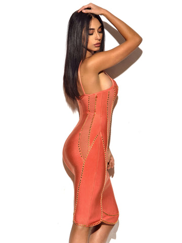 Harper Pink Bandage Dress with Gold Studded Hardware