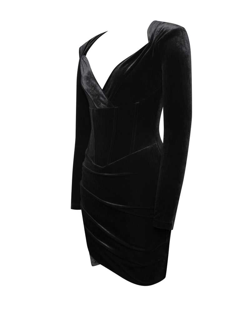 Tamara Black Long Sleeve Corset Velvet Dress