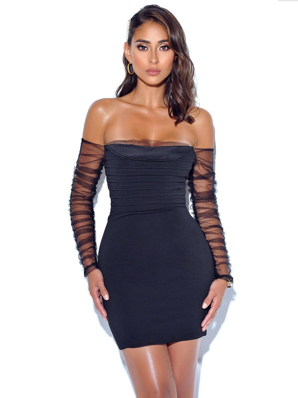 Remember Me Mesh Sleeve Black Stretch Crepe Dress - Miss Circle
