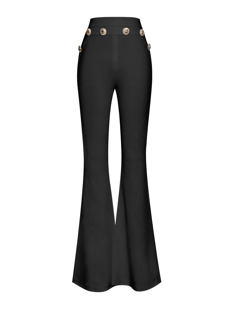 Fiona Gold Button Detail High Waisted Black Flared Stretch Crepe Pants - Miss Circle