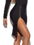 Kensie High Waisted Double Zip Black Bandage Skirt